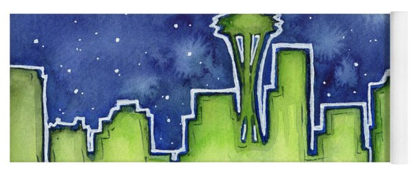 Seattle Night Sky Watercolor Yoga Mat