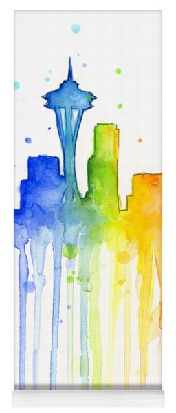 Seattle Rainbow Watercolor Yoga Mat