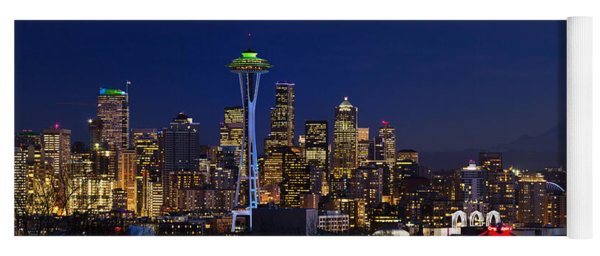 Yoga Mat featuring the photograph Seattle Seahawks Space Needle by Mary Jo Allen