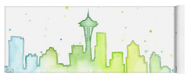 Seattle Skyline Watercolor  Yoga Mat