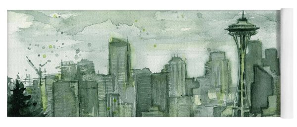 Seattle Skyline Watercolor Space Needle Yoga Mat