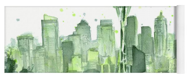 Seattle Watercolor Yoga Mat