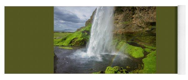Seljalandsfoss With Rainbow, Iceland Yoga Mat