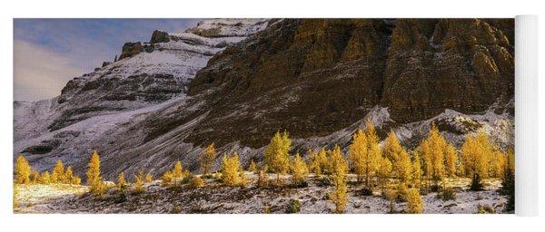 Sentinel Pass Pinnacle Peak Golden Autumn Light Yoga Mat