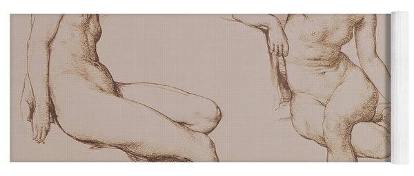 Sepia Drawing Of Nude Woman Yoga Mat