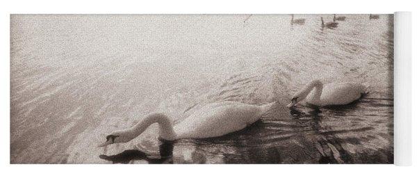 Sepia Swans Yoga Mat