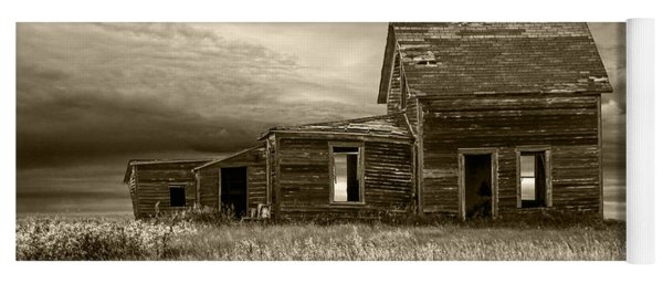 Sepia Tone Of Abandoned Prairie Farm House Yoga Mat