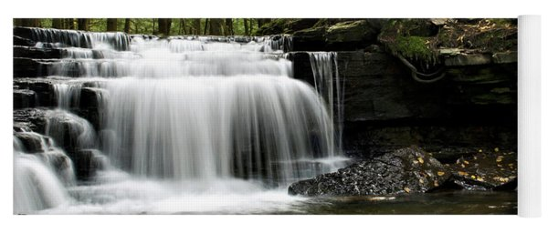 Yoga Mat featuring the photograph Serenity Waterfalls Landscape by Christina Rollo