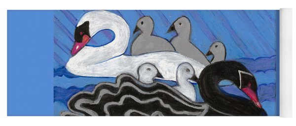 Yoga Mat featuring the painting Seven Swans Swimming by Denise Weaver Ross