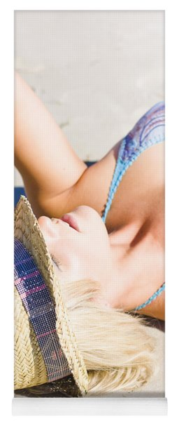 Sexy Woman On Sand Yoga Mat