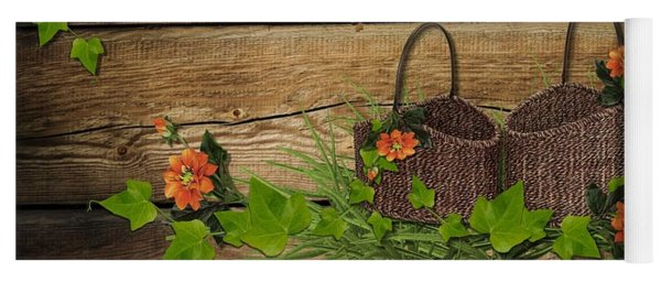Shabby Chic Flowers In Rustic Basket Yoga Mat