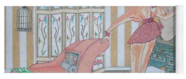 Shabby Chic -- Art Deco Interior W/ Fashion Figure Yoga Mat