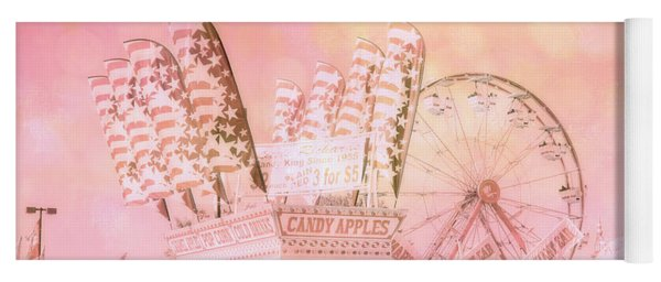Pink Carnival Prints - Shabby Chic Cotton Candy Pink Carnival Ferris Wheel  Yoga Mat