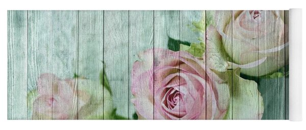Shabby Chic Pink Roses On Blue Wood Yoga Mat