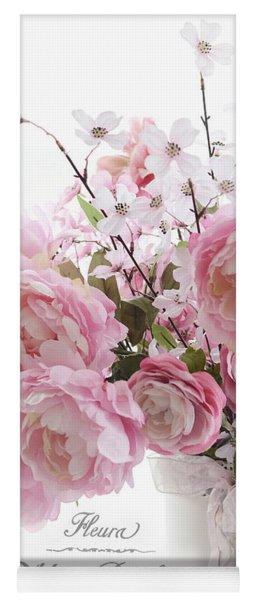 Peonies Pink Pastel Peonies With French Script - Paris French Pink Peonies In Vase Yoga Mat