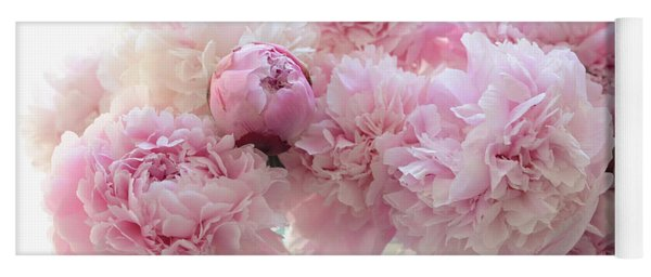 Shabby Chic Romantic Pink Peonies In Aqua Mason Jars - Shabby Cottage Aqua Pink Paris Peonies Yoga Mat