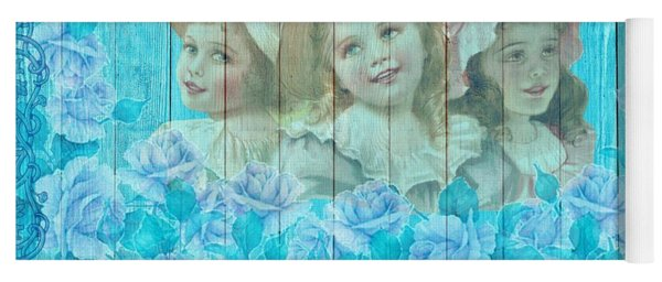 Shabby Chic Vintage Little Girls And Roses On Wood Yoga Mat