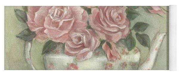 Shabby Teapot Rose Painting Yoga Mat