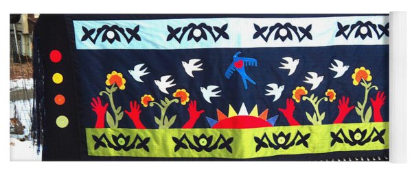 Yoga Mat featuring the tapestry - textile Shawl - Lost Birds Return by Chholing Taha