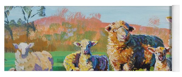 Sheep And Lambs In Devon Landscape Bright Colors Yoga Mat