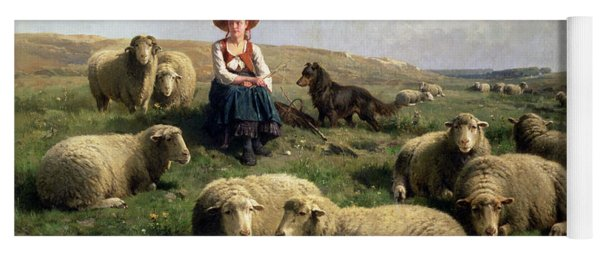 Shepherdess With Sheep In A Landscape Yoga Mat