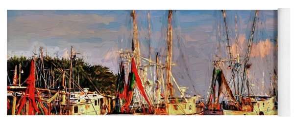 Shrimp Boats Shem Creek In Mt. Pleasant  South Carolina Sunset Yoga Mat