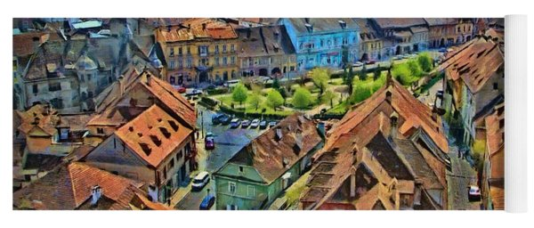 Sighisoara From Above Yoga Mat