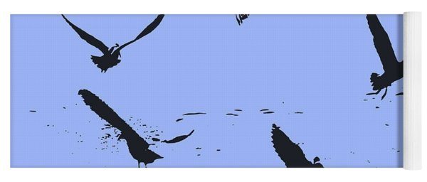 Silhouette Of A Flock Of Seagulls Over Water Vector Yoga Mat
