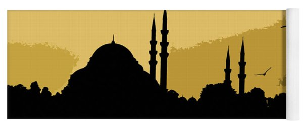 Silhouette Of Mosques In Istanbul Yoga Mat