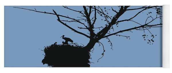 Silhouette Of Stalk Nest And Fledglings Vector Yoga Mat