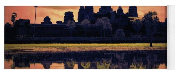 Silhouettes Angkor Wat Cambodia Mixed Media  Yoga Mat