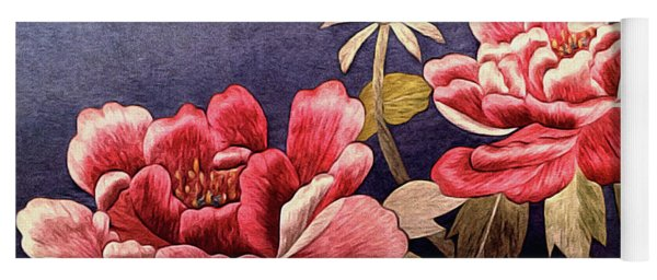 Yoga Mat featuring the tapestry - textile Silk Peonies - Kimono Series by Susan Maxwell Schmidt