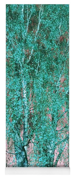 Silver Birch In Turquoise Yoga Mat