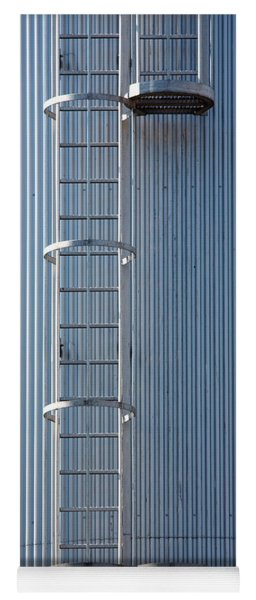 Silver Blue Silo With Steel Ladder. Yoga Mat