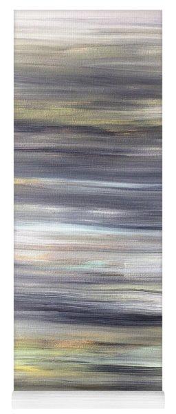 Silver Coast #26 Silver Teal Landscape Original Fine Art Acrylic On Canvas Yoga Mat