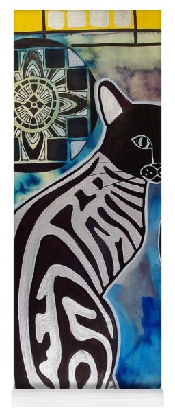 Silver Tabby With Mandala - Cat Art By Dora Hathazi Mendes Yoga Mat