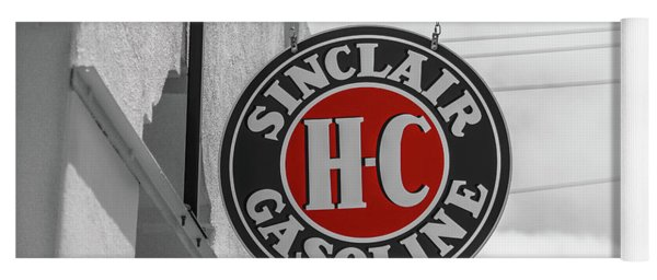 Yoga Mat featuring the photograph Sinclair Gasoline Round Sign In Selective Color by Doug Camara