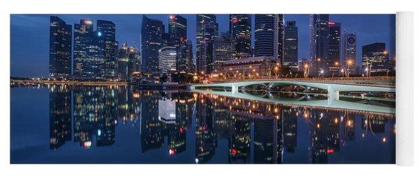 Yoga Mat featuring the photograph Singapore Skyline Reflection by Pradeep Raja Prints