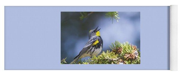 Singing Audubon's Warbler Yoga Mat