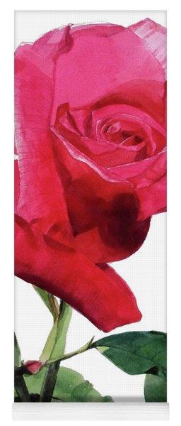 Single Bright Pink Rose Unfolding Yoga Mat