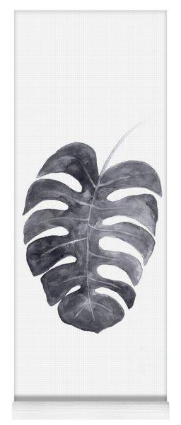 Single Charcoal Monstera Leaf Yoga Mat