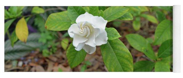 Single Gardenia Blossom Yoga Mat