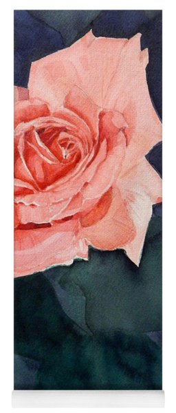 Watercolor Of A Magic Bright Single Red Rose Yoga Mat