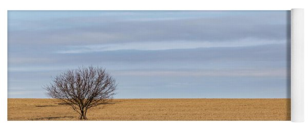 Single Tree In Large Field With Cloudy Skies Yoga Mat