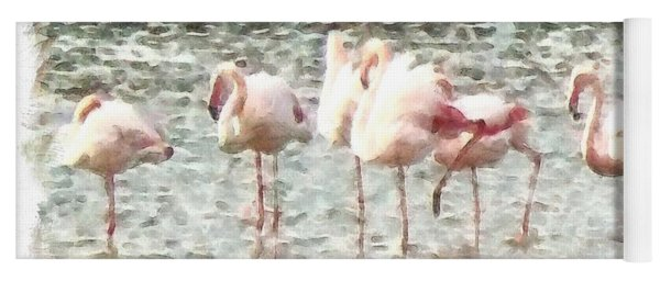 Six Flamingos A Wading Watercolor Yoga Mat