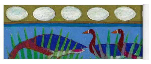 Yoga Mat featuring the painting Six Geese-a-layin by Denise Weaver Ross