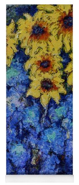 Six Sunflowers On Blue Yoga Mat