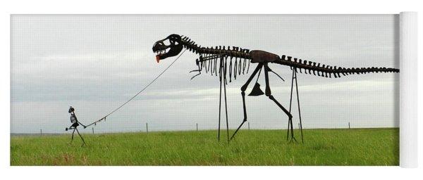 Skeletal Man Walking His Dinosaur Statue Yoga Mat
