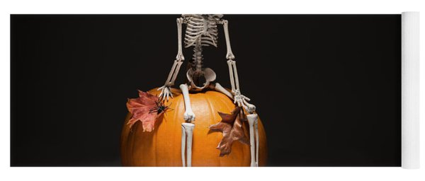 Skeleton With Pumpkin And Leaves Yoga Mat