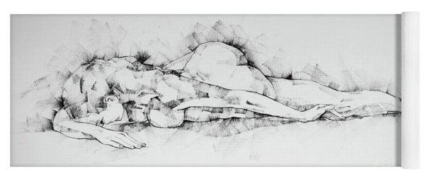 Sketchbook Page 45 Woman Lying On Stomach Life Drawing Female Figure Yoga Mat